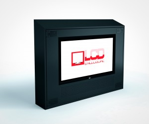 sloped top LCD TV enclosures