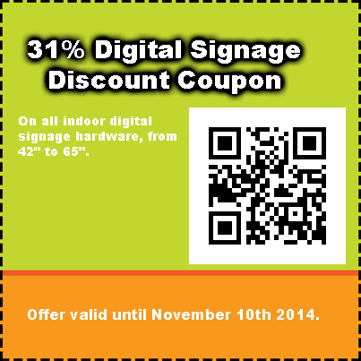 indoor digital signage discount coupon