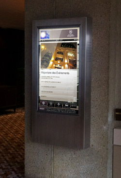 large tablet based hotel signage